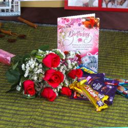 Red Roses with Assorted Chocolates and Birthday Card