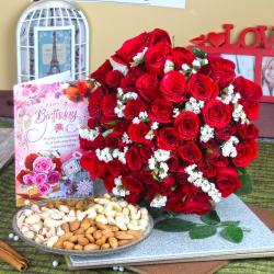 Red Roses with Assorted Dryfruit and Birthday Greeting Card for Mom