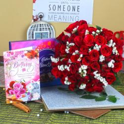Red Roses with Celebration Chocolate Pack and Birthday Greeting Card For Sister