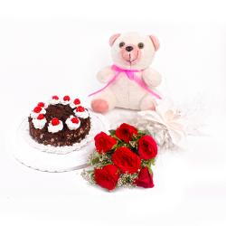 Red Roses with Eggless Black Forest Cake and Teddy Bear