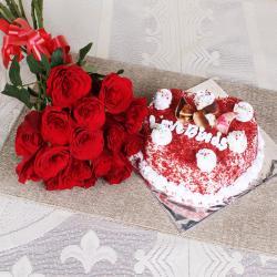 Red Roses with Heart Shape Velvet Cake