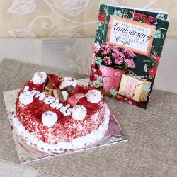 Red Velvet Cake with Anniversary Card
