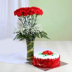 Red Velvet Cake with Red Carnation in Glass Vase