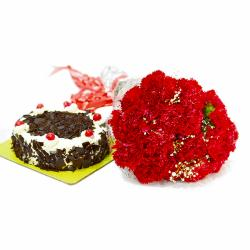 Romantic 20 Red Carnations with Black Forest Cake