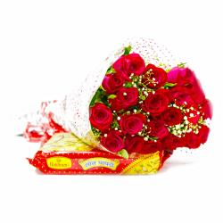 Romantic 20 Red Roses with Mouthmelting Soan Papdi