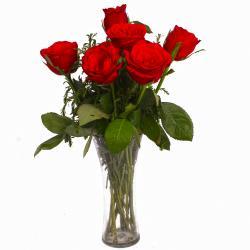 Romantic Six Red Roses in Vase