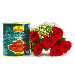 Romantic Six Red Roses with Mouthwatering Gulab Jamuns