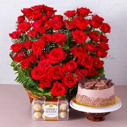 Romantic Treat of Cake, Roses and Chocolates