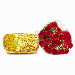 Romantic Twenty Red Roses with Basket of Mix Dryfruits