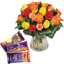Rose Vase with Assorted Chocolate