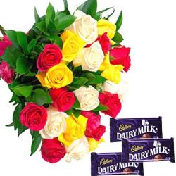Roses and Cadbury dairy Milk Chocolate