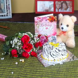 Roses and Cake Hamper Including Teddy with Birthday Card
