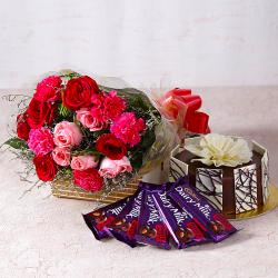 Roses and Carnations with Chocolate Cake and Cadbury Bars