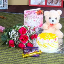 Roses and Chocolate Birthday Hamper Including Cake with Teddy