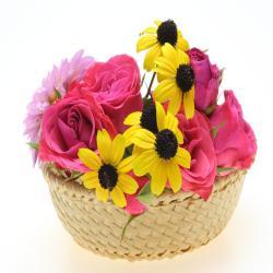 Roses And Yellow Gerberas In Basket