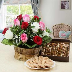 Roses Arrangement with Assorted Dry Fruits and Cookies