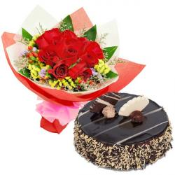 Roses Bouquet With Chocolate Cake