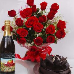 Roses Bouquet with Wine Bottle and Cake