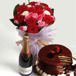 Roses Bouquet with Wine Bottle and Chocolate Cake