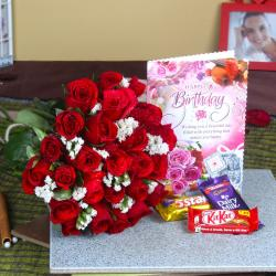 Roses Bunch with Assorted Chocolates and Birthday Card