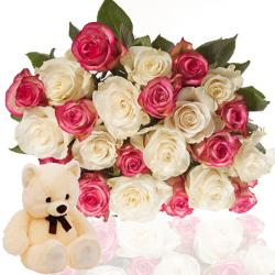 Roses Bunch with cute Teddy