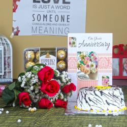 Roses with Anniversary Vanilla Cake and Ferrero Rocher Chocolates