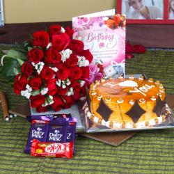 Roses with Eggless Birthday Butterscotch Cake and Assorted Chocolates