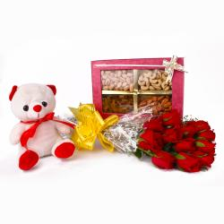 Roses with Teddy Bear and Dryfruits Combo