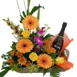 Seasonal Flowers Basket with Wine