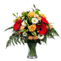 Seasonal Flowers Glass Vase