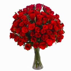 Seventy Red Roses in Glass Vase