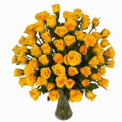 Seventy Yellow Roses in Glass Vase