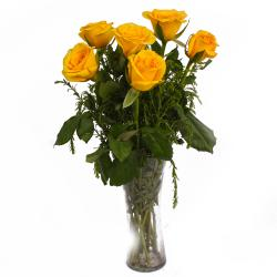 Shiny Six Yellow Roses in Vase