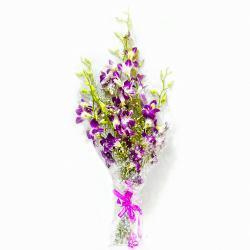Six Exotic Purple Orchid Bouquet