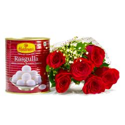 Six lovely Red Roses Bouquet with Rasgullas