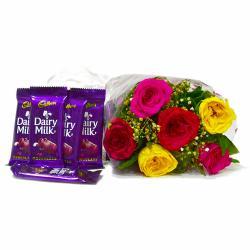 Six Mix Roses Bouquet with Bars of Cadbury Dairy Milk Chocolates