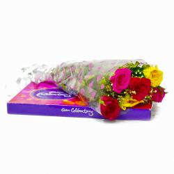 Six Mix Roses Bouquet with Cadbury Celebration Chocolate  Box