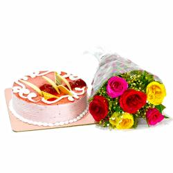 Six Multi Color Roses Bunch with Strawberry Cake