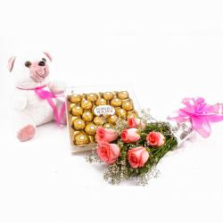 Six Pink Roses and Ferrero Rocher with Cuddly Bear