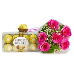 Six Pink Roses Bouquet with Imported Ferrero Rocher Chocolates