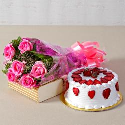 Six Pink Roses Bouquet with Round Strawberry Cake