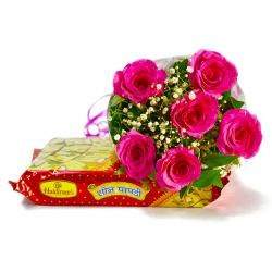 Six Pink Roses Bouquet with Soan Papdi Sweet