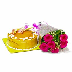 Six Pink Roses Bunch and Butterscotch Cake