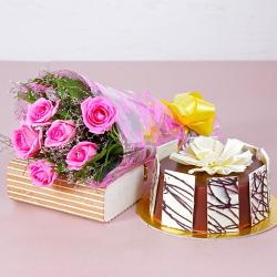 Six Pink Roses Hand Tied Bouquet with Half Kg Round Chocolate Cake