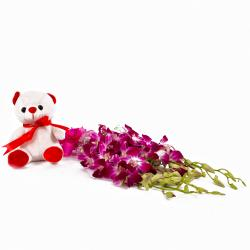 Six Purple Orchids Bouquet with Six Inches Teddy Bear