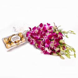 Six Purple Orchids Bunch and 16 Pcs Ferrero Rocher Chocolates