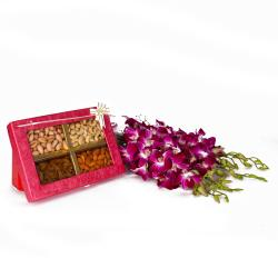 Six Purple Orchids Bunch with 1 Kg Assorted Dryfruit Box