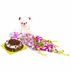 Six Purple Orchids with Blackforest cake and Soft Toy