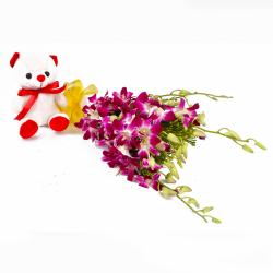 Six Purple Orchids with Cute Soft Toy