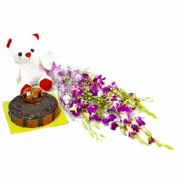 Six Purple Orchids with Cute Teddy and Yummy Chocolate Cake